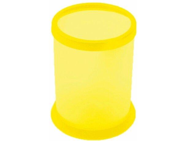 Bote para lápices en plástico personalizado amarillo