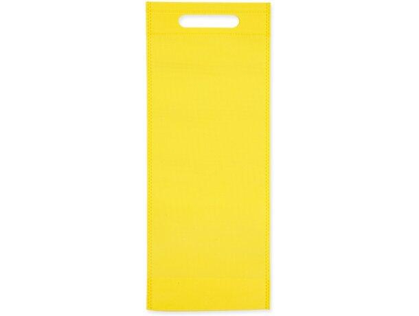 Bolsa de non woven para botella con logo amarilla