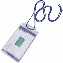 Identificador transparente con cordón personalizado azul