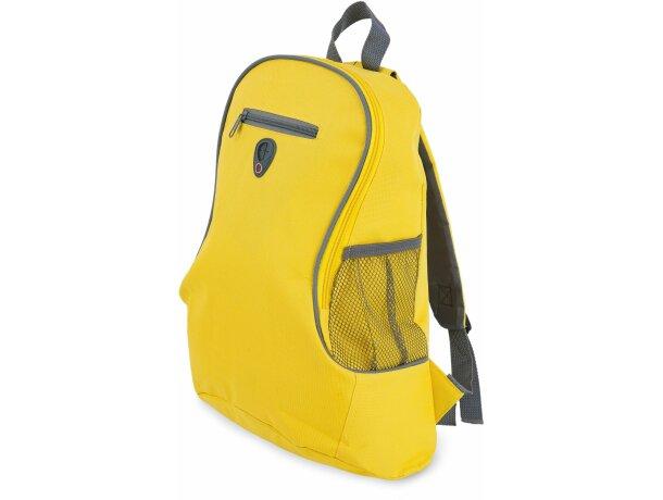 Mochila con bolsillo de rejilla y salida auriculares amarilla