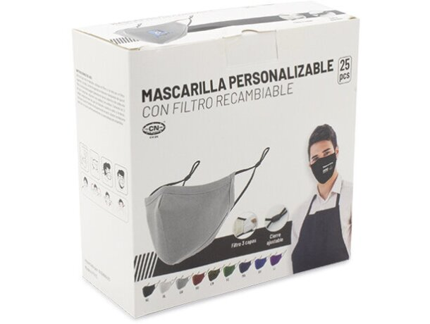 Mascarilla de tela personalizada con filtro de 3 capas lila