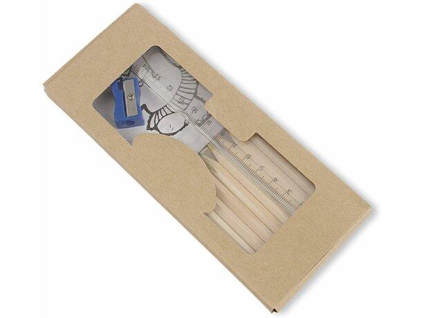 Caja con lápices de colores y libro para colorear