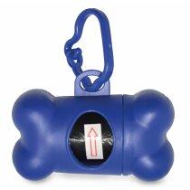 Porta bolsas para mascotas en forma de hueso azul