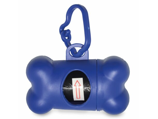 Porta bolsas para mascotas en forma de hueso personalizada azul
