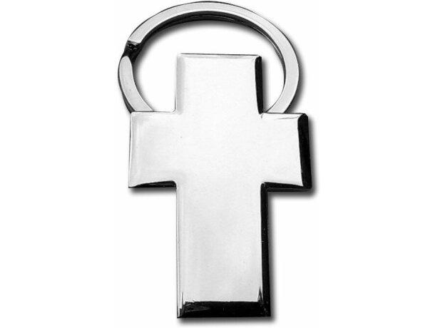 Llavero con forma de cruz metálico