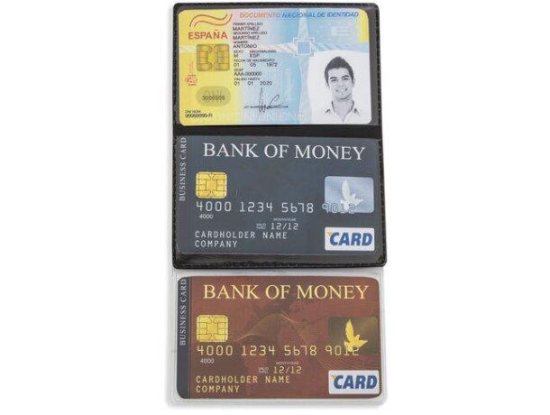 Porta tarjetas triple merchandising negro