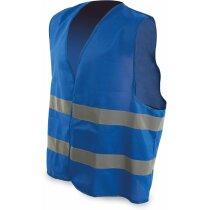 Chaleco moderno con bandas reflectantes azul personalizado