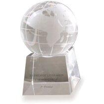 Trofeo de cristal bola del mundo pequeña personalizado