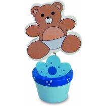 Maceta pinza portafotos oso personalizada azul