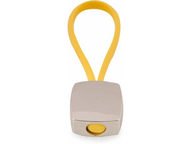 Llavero rectangular de poliuretano y aleación de zinc amarillo