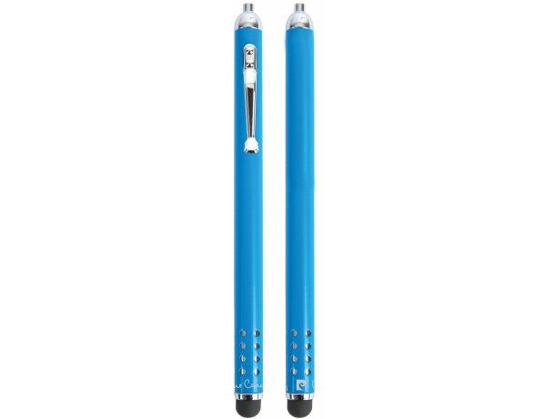 Bolígrafo puntero de metal en estuche Pierre Cardin personalizado azul