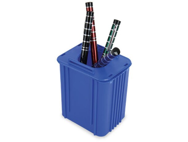 Portalápiz contenedor azul ecológico