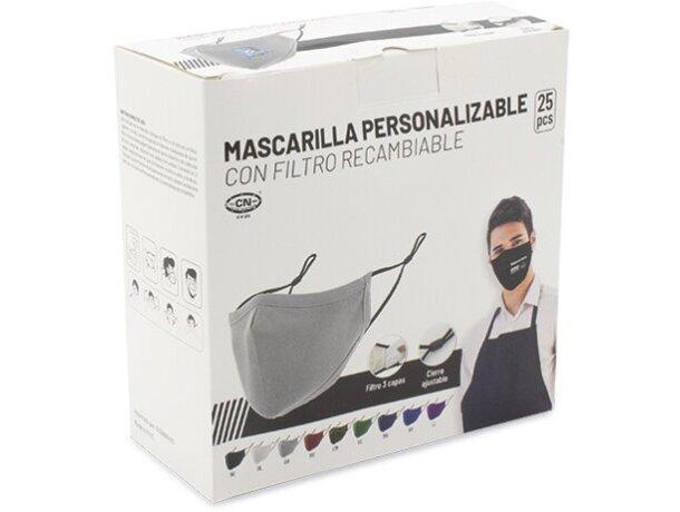 Mascarilla de tela personalizada con filtro de 3 capas gris