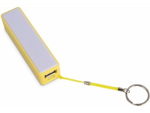 Powerbank de plástico de 2000 mah con llavero personalizado amarillo