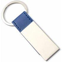 Llavero rectangular con enganche de piel azul