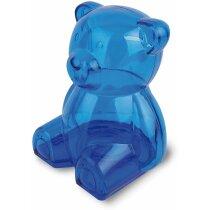 Hucha de plástico forma de osito grabada azul