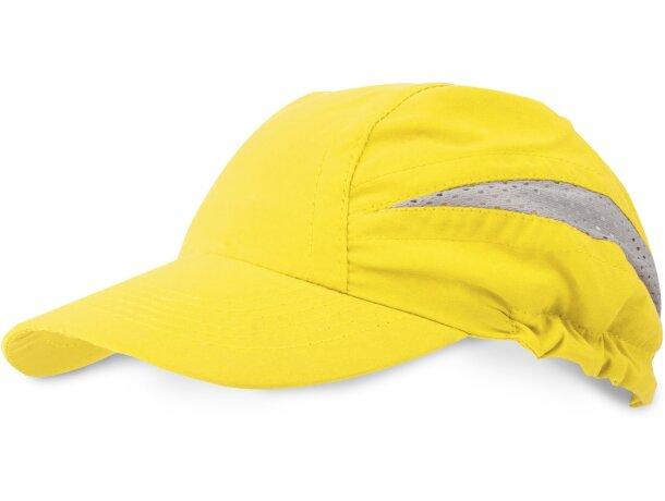 Gorra con detalles reflectantes y alta visibilidad con logo amarilla