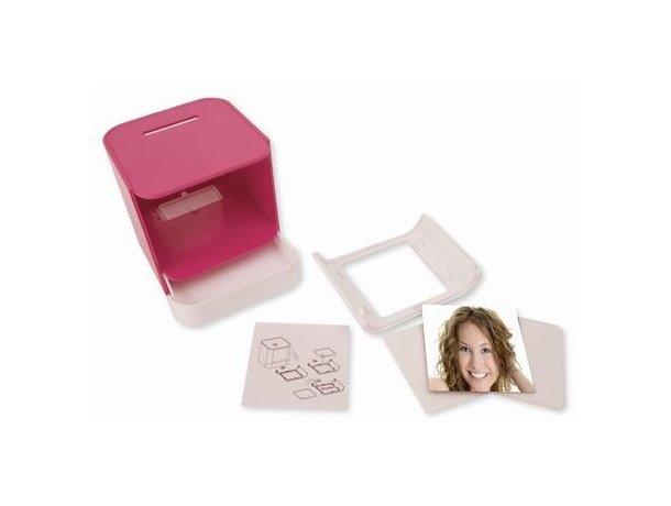 Hucha de plástico con porta fotos rosa