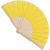 Abanico de madera y poliéster 16 varillas personalizado amarillo
