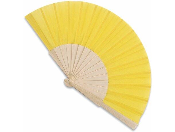Abanico de madera y poliéster 16 varillas amarillo