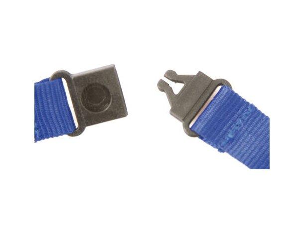 Lanyard doble de poliéster con enganche de hierro azul