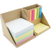 Set de escritorio con notas y marcadores adhesivos en cartón personalizada