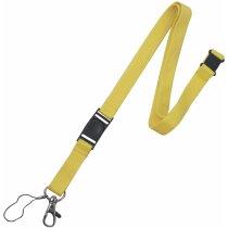 Lanyard doble de poliéster con enganche de hierro personalizado amarillo