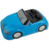 Hucha de plastico forma de coche personalizada azul