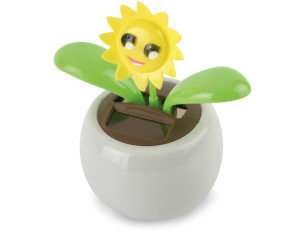 Maceta eco solar con flor girasol personalizada