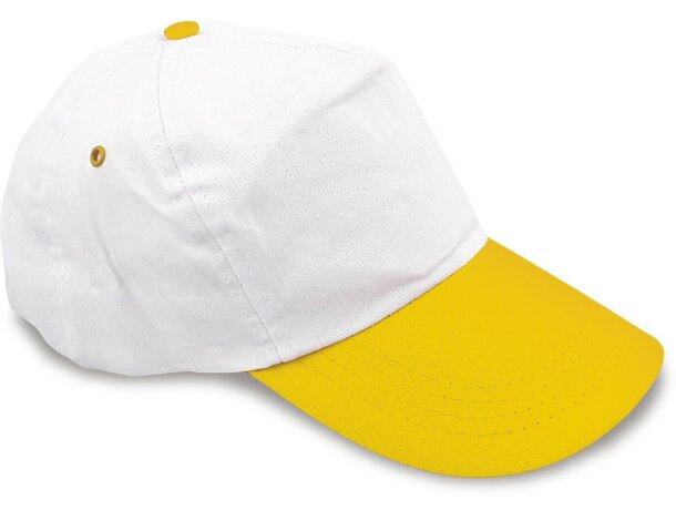 Gorra de algodón bicolor con 5 Paneles merchandising amarilla