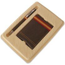 Estuche con tarjetero y bolígrafo automático en marrón personalizado