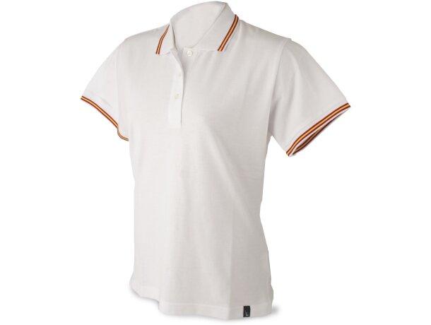 Polo de manga corta algodón de mujer detalles bandera barato blanco