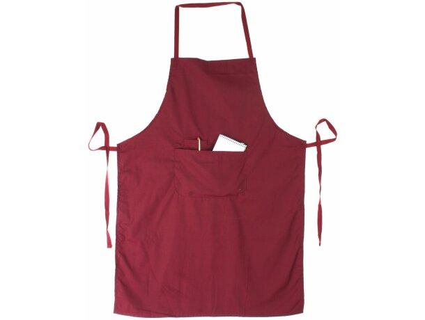 delantal con bolsillo en tejido mixto personalizado burdeos