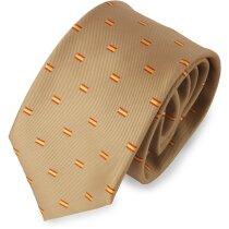Corbata con bandera de España color camel personalizada