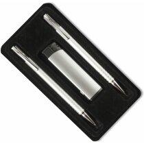 Estuche con dos bolígrafos y encendedor personalizado negro