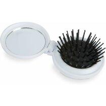 Cepillo plegable con espejo de viaje personalizado blanco