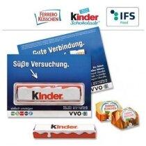 Tarjeta con Kinder chocolate o Ferrero Kusschen personalizada