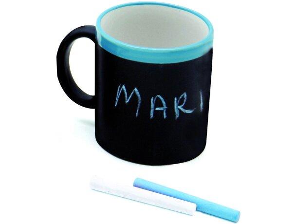 Taza decorada con pizarra de colores personalizada azul