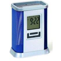 Portalápices con calendario y reloj personalizada azul