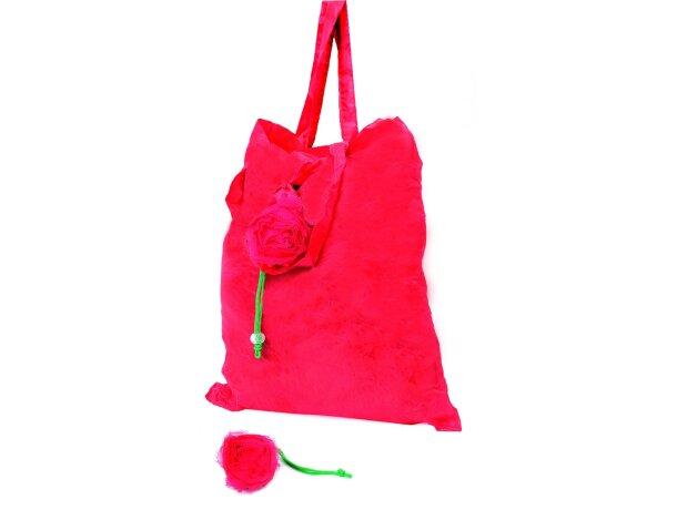 Bolsa plegable de poliéster con forma de rosa roja personalizada