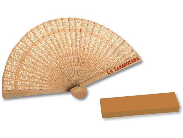 Abanico elegante de madera 23 cm grabado