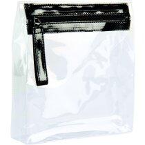 Neceser transparente con cremallera de colores personalizado negro