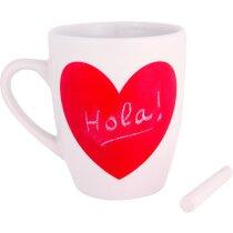 Taza decorada con corazón de pizarra personalizada