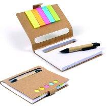 Bloc de notas con marcadores y mini bolígrafo grabada