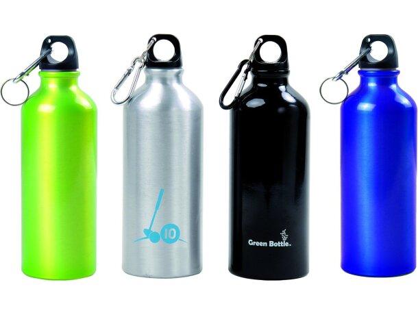 Botella de aluminio brillante con mosquetón grabada