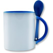 Taza de cerámica con cuchara de colores especial para sublimación azul