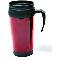Taza termo de plástico con tapa roja personalizado