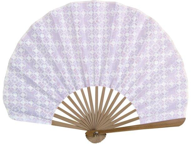 Abanico oriental de bambú y poliéster personalizado blanco