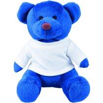 Oso de peluche con camiseta blanca personalizado azul
