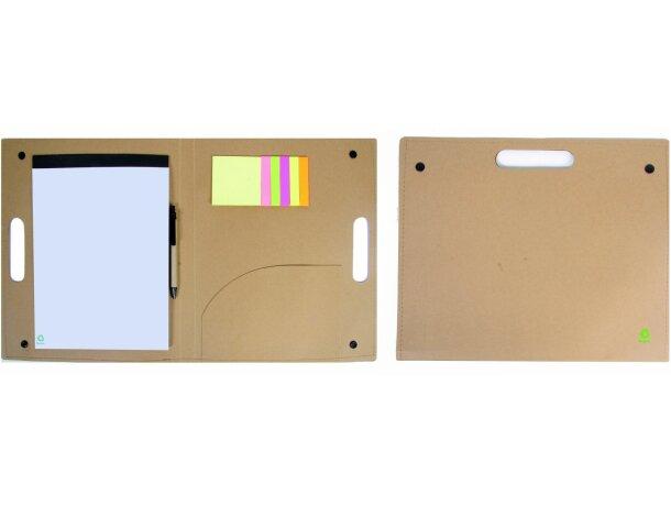 Portafolios de cartón reciclado con bloc y marcadores barato